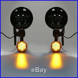 Phares additionnels LED + clignotant pour Harley-Davidson Touring 94-13 noir-dk