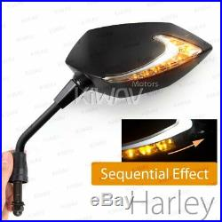 Rétros séquentiel dual LED Lucifer noir clignotant 5/16 pour Harley touring