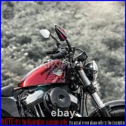 Rétroviseur Achilles noir + rouge réglable pour Harley chopper cruiser touring