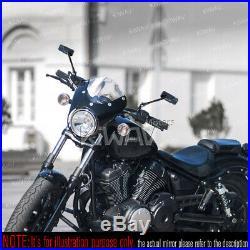 Rétroviseur noir moto convexe CNC pour Harley chopper cruiser touring sportster