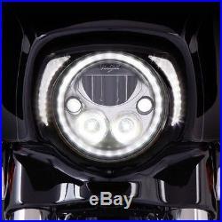 Visière Phare Pour Harley-davidson Touring'14-up Brillant Noir Contour Cadran